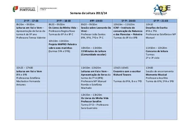 Semana da Leitura 2013/14 2ª fª - 17-03 3ª fª – 18-03 4ªfª -19-03 5ª fª - 20-03 6ª fª – 21-03 8h20m – 9h50m Leituras em Va...