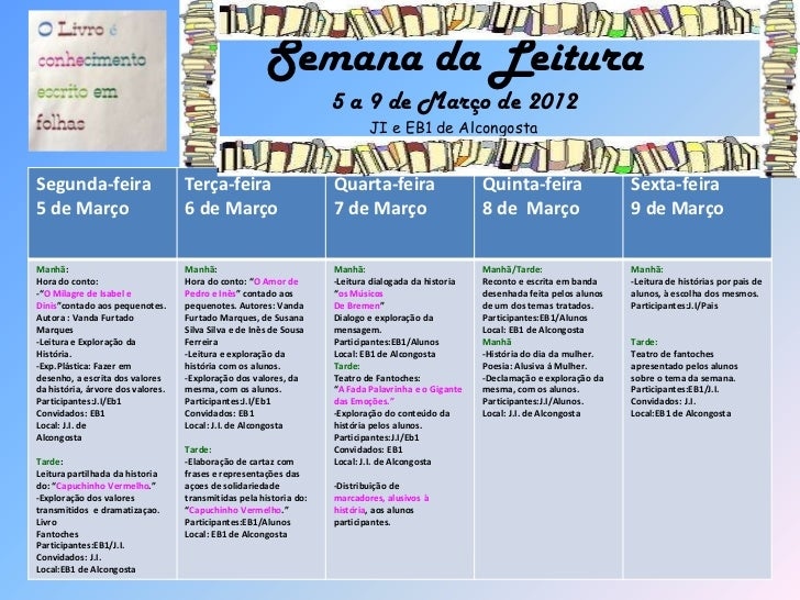 Semana da Leitura                                                                    5 a 9 de Março de 2012               ...