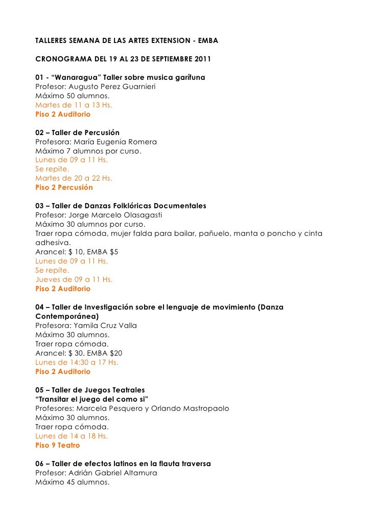 "TALLERES SEMANA DE LAS ARTES EXTENSION - EMBACRONOGRAMA DEL 19 AL 23 DE SEPTIEMBRE 201101 - ""Wanaragua"" Taller sobre music..."