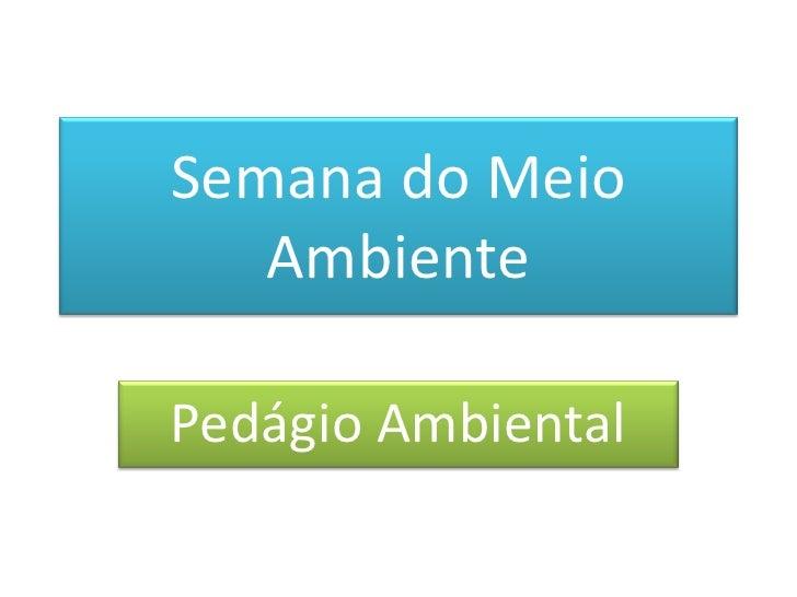 Semana do Meio Ambiente<br />Pedágio Ambiental<br />