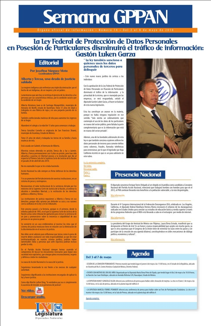Semana GPPAN                          Órgano oficial de información • Número 14 • Del 2 al 8 de mayo de 2010           La ...
