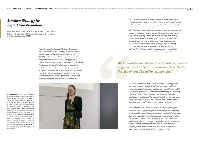 p. 43 Miriam Wimmer, Director of the Department of Informatics Policy of the Ministry of Science, Technology, Innovation a...