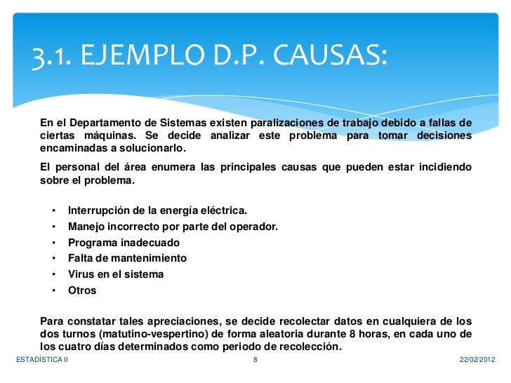 3.1. EJEMPLO D.P. CAUSAS:      En el Departamento de Sistemas existen paralizaciones de trabajo debido a fallas de      ci...