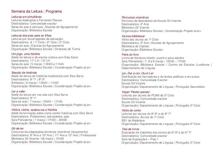Semana da Leitura | ProgramaLeituras em simultâneo                                              Percursos vicentinosLeitur...
