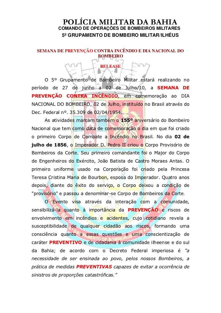 POLÍCIA MILITAR DA BAHIA<br />  COMANDO DE OPERAÇÕES DE BOMBEIROS MILITARES<br />5º GRUPAMENTO DE BOMBEIRO MILITAR/ILHÉUS ...