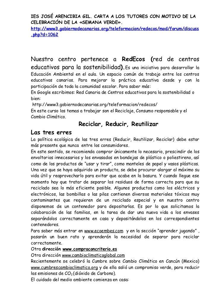 IES JOSÉ ARENCIBIA GIL. CARTA A LOS TUTORES CON MOTIVO DE LACELEBRACIÓN DE LA «SEMANA VERDE».http://www3.gobiernodecanaria...