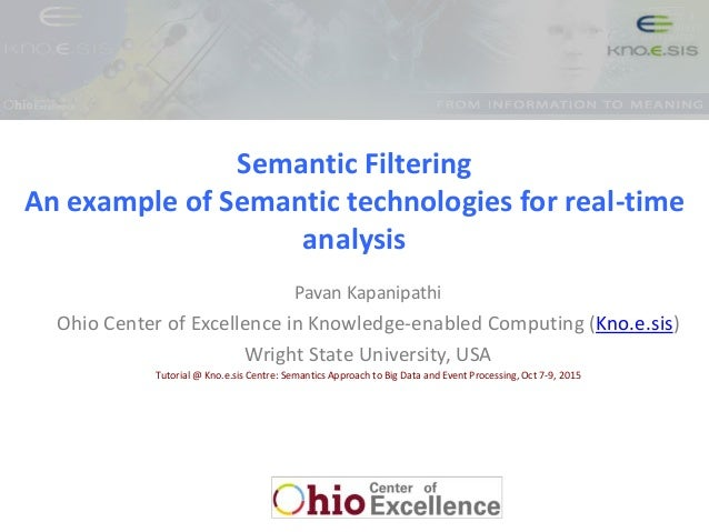 Semantic Filtering An example of Semantic technologies for real-time analysis Pavan Kapanipathi Ohio Center of Excellence ...