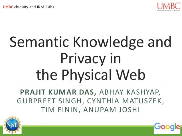 Semantic Knowledge and Privacy in the Physical Web PRAJIT KUMAR DAS, ABHAY KASHYAP, GURPREET SINGH, CYNTHIA MATUSZEK, TIM ...