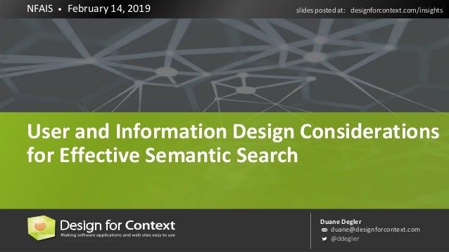 Duane Degler duane@designforcontext.com @ddegler NFAIS • February 14, 2019 slides posted at: designforcontext.com/insights...
