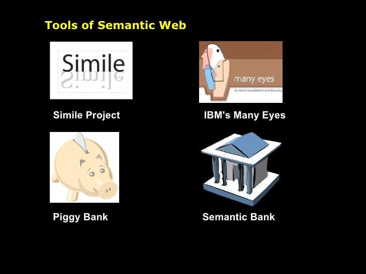Tools of Semantic Web Simile Project Piggy Bank IBM's Many Eyes Semantic Bank