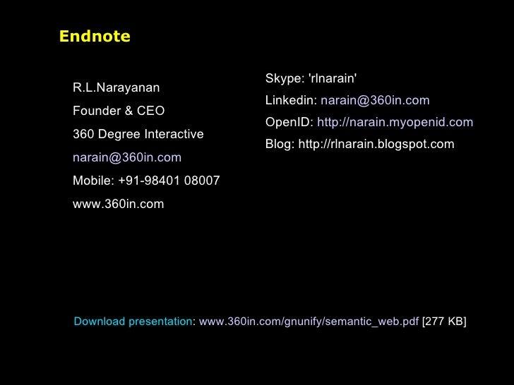 Endnote <ul><li>R.L.Narayanan </li></ul><ul><li>Founder & CEO </li></ul><ul><li>360 Degree Interactive </li></ul><ul><li>[...