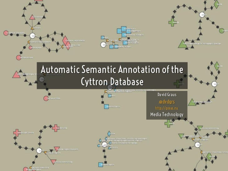 Automatic Semantic Annotation of the          Cyttron Database                              David Graus                   ...
