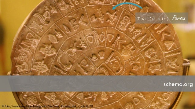 schema.org That's a(n) Person © http://commons.wikimedia.org/wiki/File:Crete_-Phaistos_disk_-_side_B.JPG