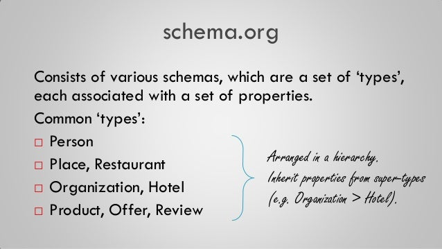 """schema.org Consists of various schemas, which are a set of """"types"""", each associated with a set of properties. Common """"type..."""