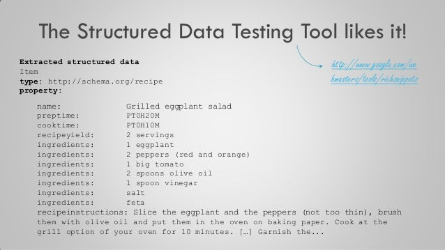 The Structured Data Testing Tool likes it! Extracted structured data Item type: http://schema.org/recipe property: name: G...