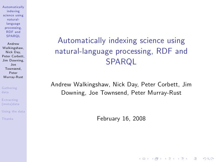Automatically    indexing science using    natural-   language  processing,   RDF and   SPARQL     Andrew          Automat...