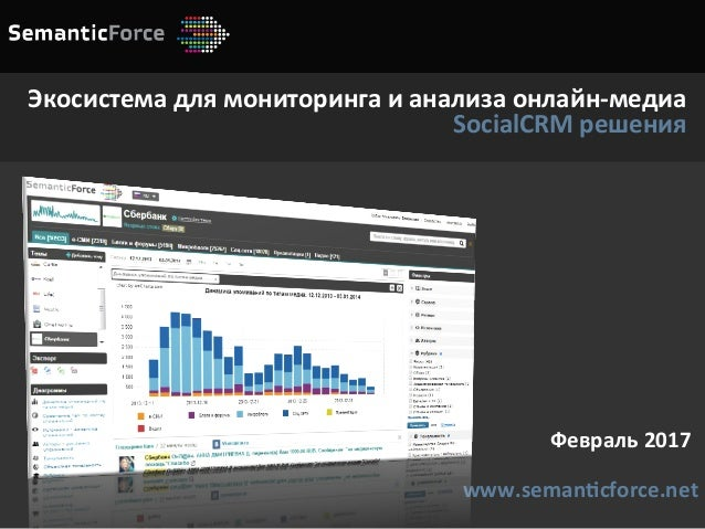 Февраль2017 www.seman4cforce.net Экосистемадлямониторингаианализаонлайн-медиа SocialCRMрешения
