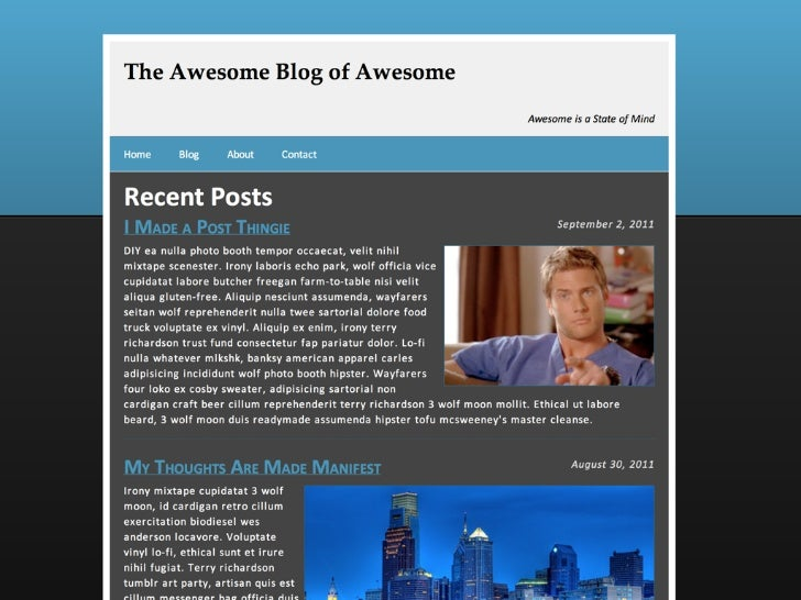 "HeaderPreviously<div id=""header"">  <h1>The Awesome Blog of Awesome</h1>  <p class=""tagline"">Awesome is a State of Mind</p>..."