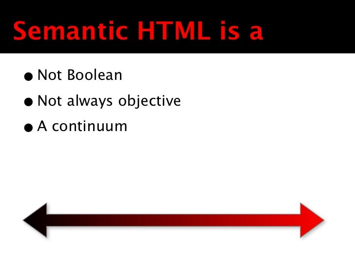 Semantic HTML is a• Not Boolean• Not always objective• A continuum Text