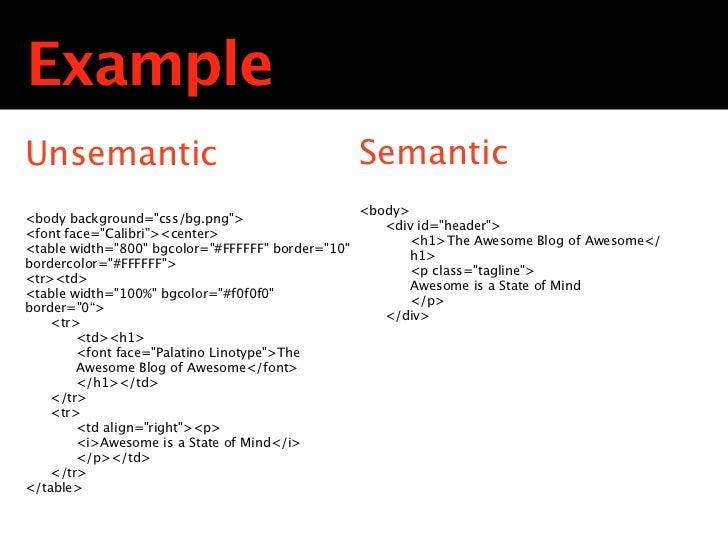 ExampleUnsemantic                                         Semantic                                                   <body...