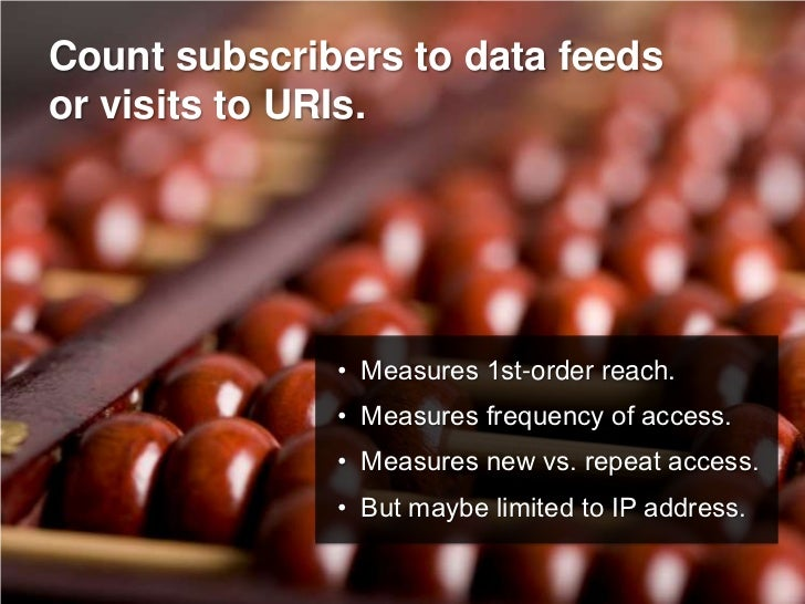 Count subscribers to data feeds or visits to URIs.                   • Measures 1st-order reach.               • Measures ...
