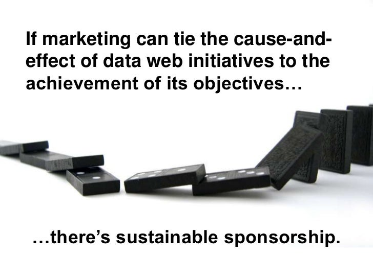 If marketing can tie the cause-and- effect of data web initiatives to the achievement of its objectives…     …there's sust...