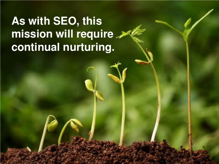 As with SEO, this mission will require continual nurturing.
