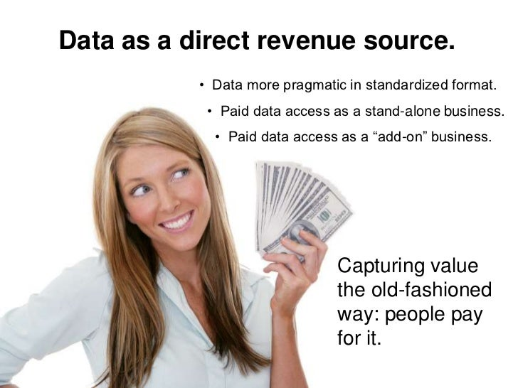 Data as a direct revenue source.            • Data more pragmatic in standardized format.             • Paid data access a...