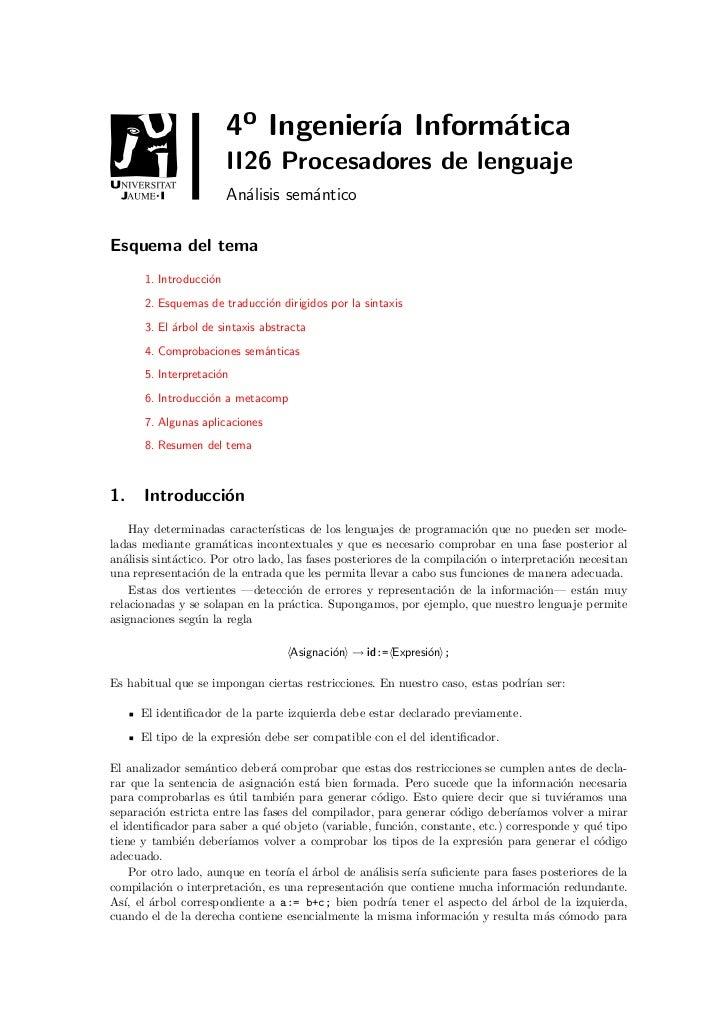 4o Ingenier´ Inform´tica                                   ıa      a                        II26 Procesadores de lenguaje ...