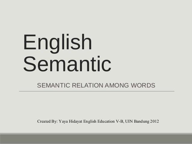English  Semantic  SEMANTIC RELATION AMONG WORDS  Created By: Yaya Hidayat English Education V-B, UIN Bandung 2012