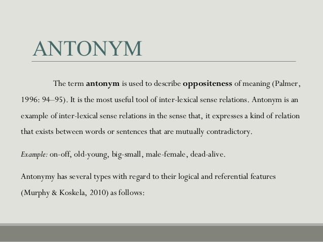 ANTONYM ...