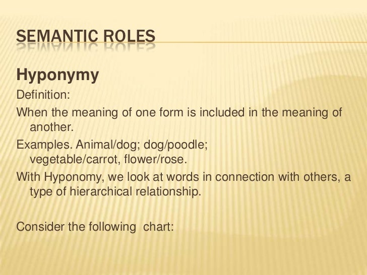 Semantic roles<br />Hyponymy<br />Definition:<br />When the meaning of one form is included in the meaning of another.<br ...