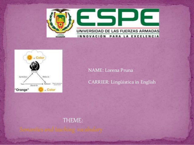 NAME: Lorena Pruna CARRIER: Lingüística in English THEME: Semantics and teaching vocabulary