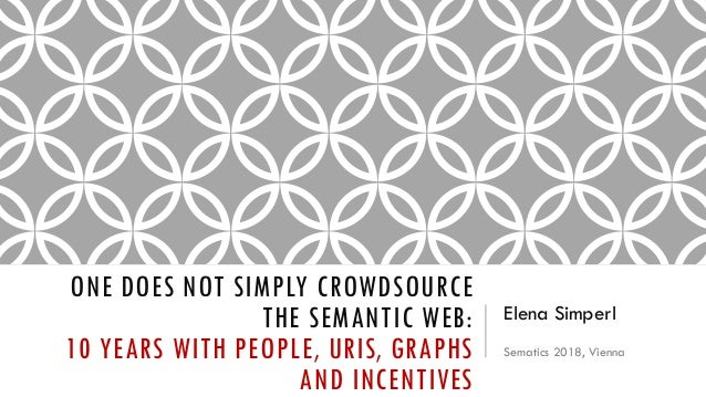 ONE DOES NOT SIMPLY CROWDSOURCE THE SEMANTIC WEB: 10 YEARS WITH PEOPLE, URIS, GRAPHS AND INCENTIVES Elena Simperl Sematics...