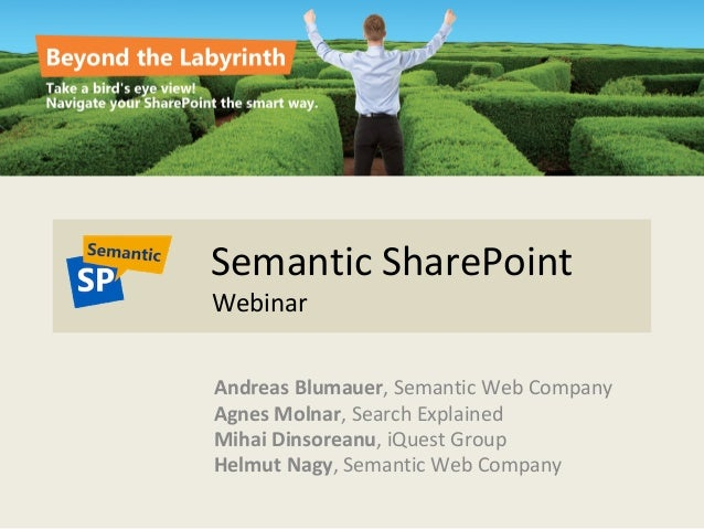 Semantic SharePoint Webinar Andreas Blumauer, Semantic Web Company Agnes Molnar, Search Explained Mihai Dinsoreanu, iQuest...