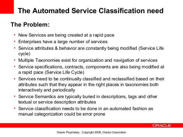 The Automated Service Classification needThe Problem:• New Services are being created at a rapid pace• Enterprises have a ...