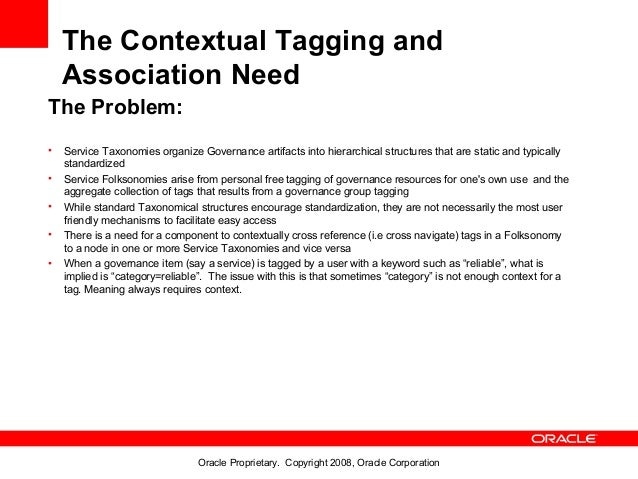 The Contextual Tagging and    Association NeedThe Problem:•   Service Taxonomies organize Governance artifacts into hierar...