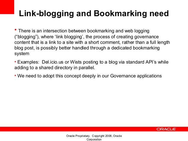 """Link-blogging and Bookmarking need• There is an intersection between bookmarking and web logging(""""blogging""""), where 'link ..."""