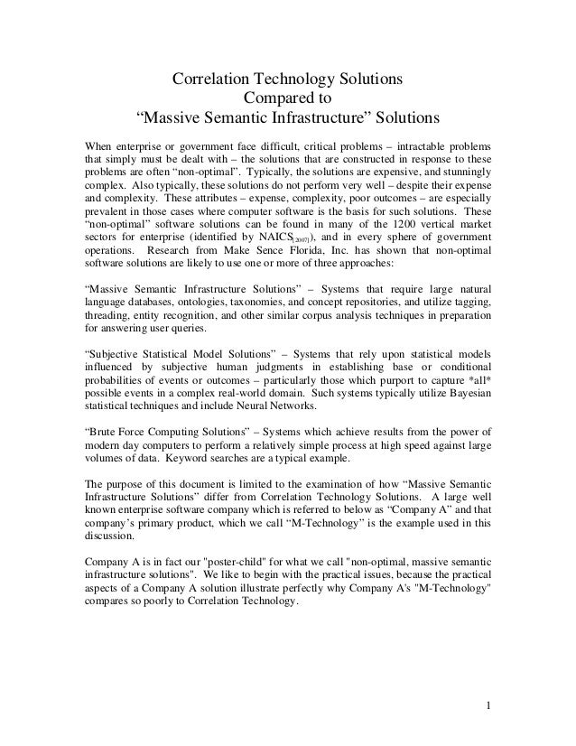 "essay comparison of semantic solutions to correlation technology sol  correlation technology solutions compared to ""massive semantic infrastructure"" solutions when enterprise or government fac"