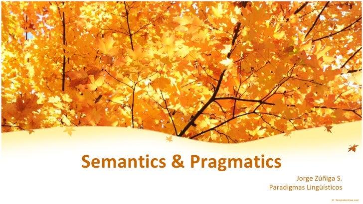 Semantics & Pragmatics Jorge Zúñiga S. Paradigmas Lingüísticos