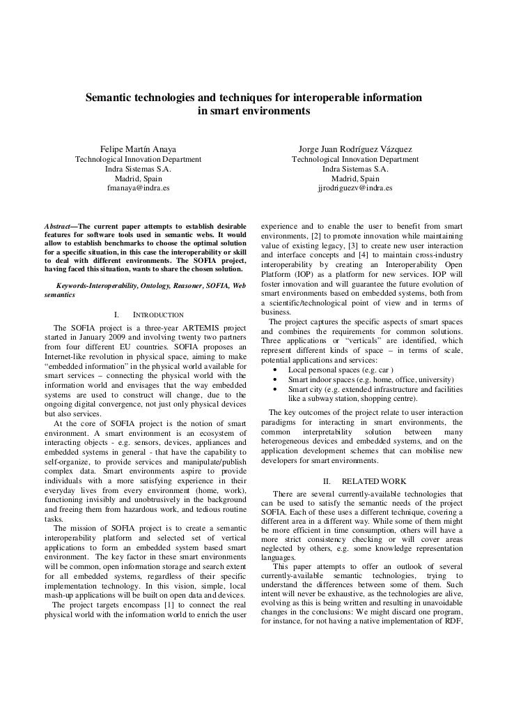 Semantic technologies and techniques for interoperable information                                   in smart environments...