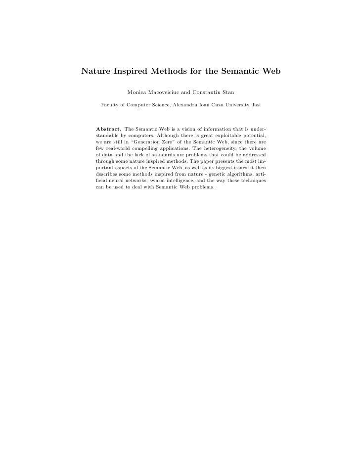 Nature Inspired Methods for the Semantic Web                  Monica Macoveiciuc and Constantin Stan       Faculty of Comp...