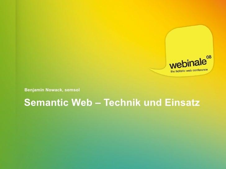 Benjamin Nowack, semsol   Semantic Web – Technik und Einsatz