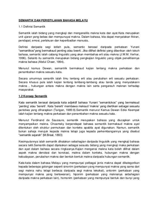 Semantik Dan Peristilahan Bahasa Melayu