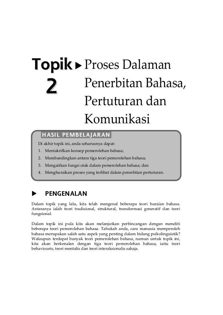 Topik Proses Dalaman        2                    Penerbitan Bahasa,                             Pertuturan dan            ...