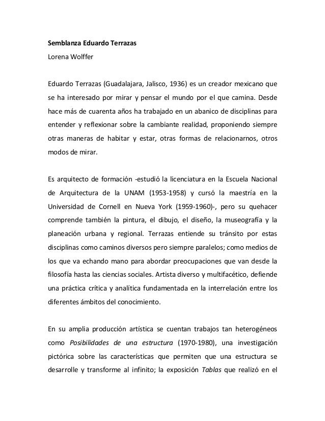 Semblanza Eduardo TerrazasLorena WolfferEduardo Terrazas (Guadalajara, Jalisco, 1936) es un creador mexicano quese ha inte...