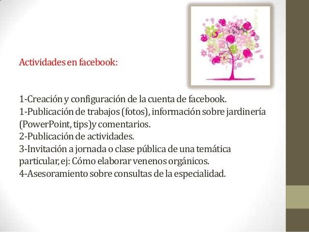 Actividadesenfacebook:1-Creaciónyconfiguracióndelacuentadefacebook.1-Publicacióndetrabajos(fotos),informaciónsobrejardiner...