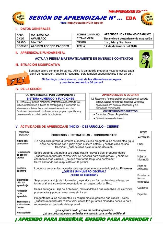 PARA EMPRENDEDORES COMO TÚ! 11 SESIÓN DE APRENDIZAJE Nº … EBA VER: http//youtu.be/HG1r-izpcV0 I. DATOS GENERALES ÁREA MATE...