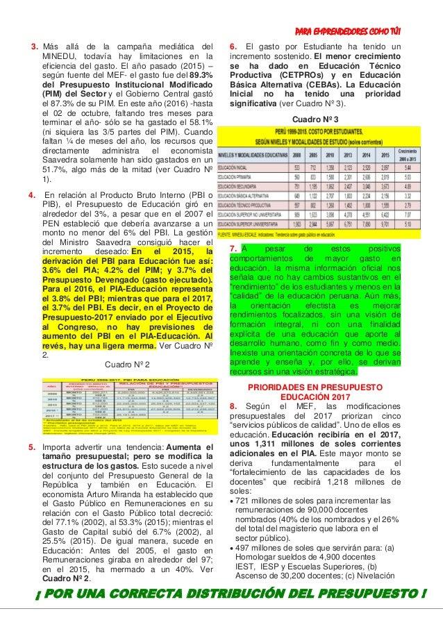 PARA EMPRENDEDORES COMO TÚ! 19 3. Más allá de la campaña mediática del MINEDU, todavía hay limitaciones en la eficiencia d...