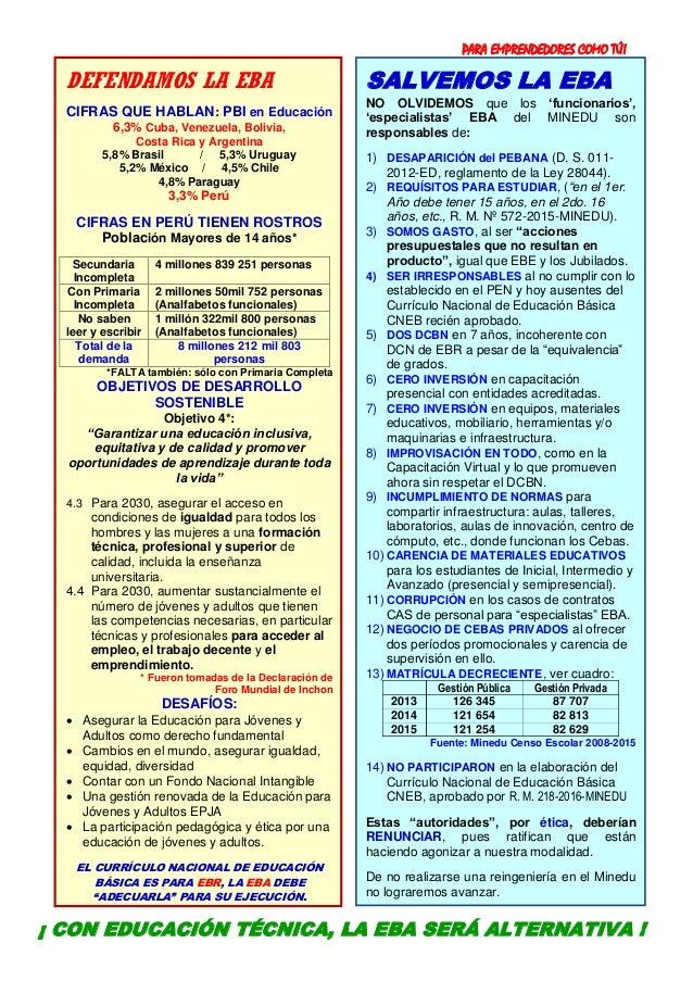PARA EMPRENDEDORES COMO TÚ! 8 DEFENDAMOS LA EBA CIFRAS QUE HABLAN: PBI en Educación 6,3% Cuba, Venezuela, Bolivia, Costa R...